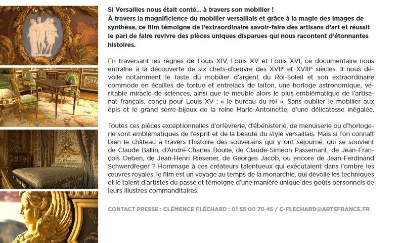 Le mobilier de Versailles -  Arte le 15 février 2015 Arteve12