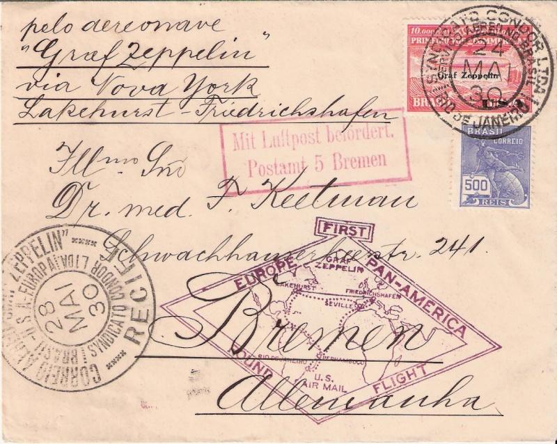 """Südamerikafahrt 1930 (Rundfahrt-) Post nach Friedrichshafen"""" - Seite 4 Scanne10"""
