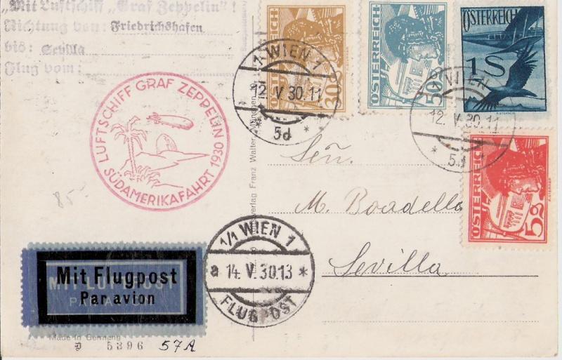 Südamerikafahrt 1930, Post nach Sevilla Scanne18