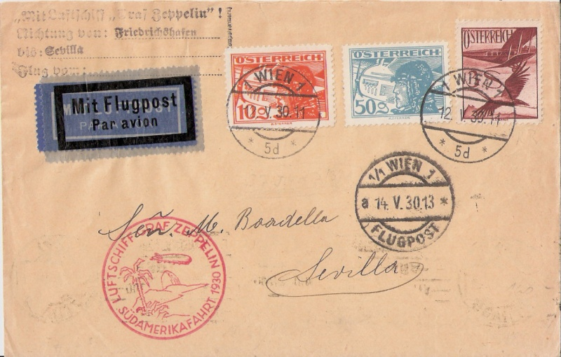 Südamerikafahrt 1930, Post nach Sevilla Scanne19