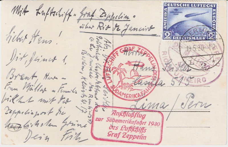 nach - Südamerikafahrt 1930, Post nach Rio de Janeiro Sieger14
