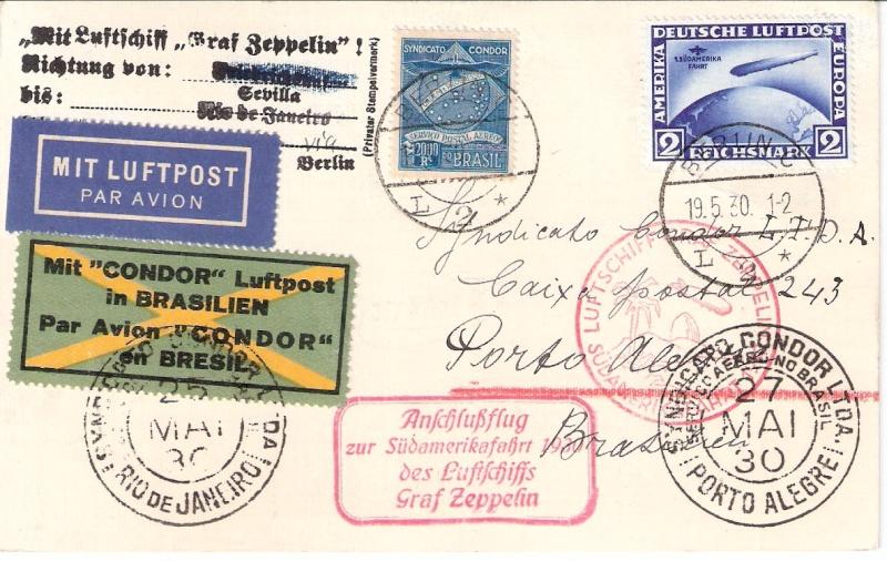 Condor-Flugpostmarken auf Belegen der Südamerikafahrt 1930 - Seite 2 Sieger22