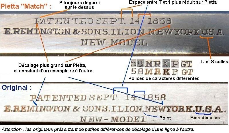 """Reconnaître un """"faux"""" Remington 1858 :  les marquages. Compar27"""