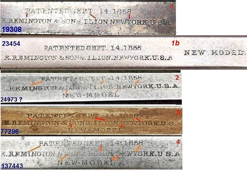 """Reconnaître un """"faux"""" Remington 1858 :  les marquages. Compar28"""