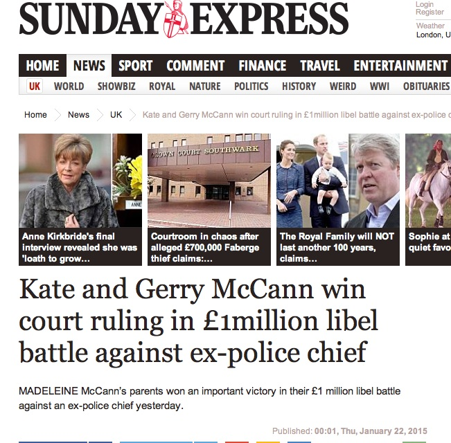 Express: McCanns will lose £1m libel trial' Judge's initial findings go against couple - Page 1 1_j14