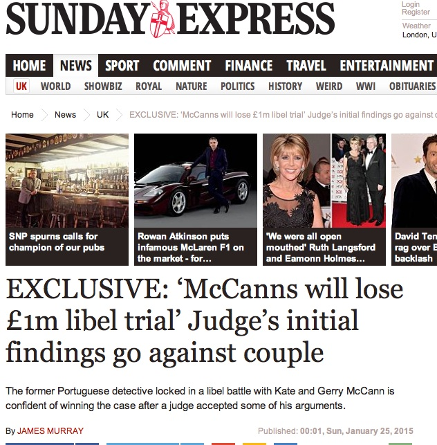 Express: McCanns will lose £1m libel trial' Judge's initial findings go against couple - Page 1 2_j13
