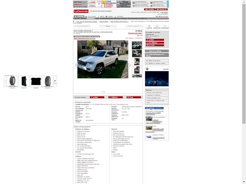 Vds Grand Cherokee V6 3.6l de 2011 - 35550 kms - 33900 € Annonc10