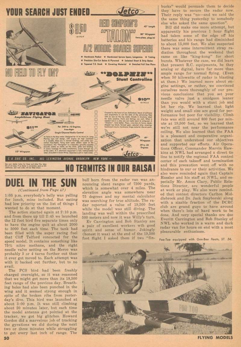 "Old Magazine Morning...""Another Model Airplane Hero"": Don McGovern's 'All Wet' column Flying Models 8/68 Duel_i16"