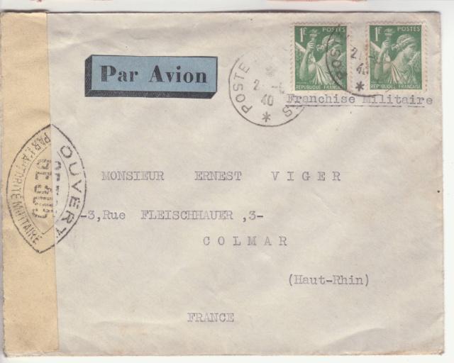 Lettre en Franchise Militaire par avion affranchie à 2f. _1001310