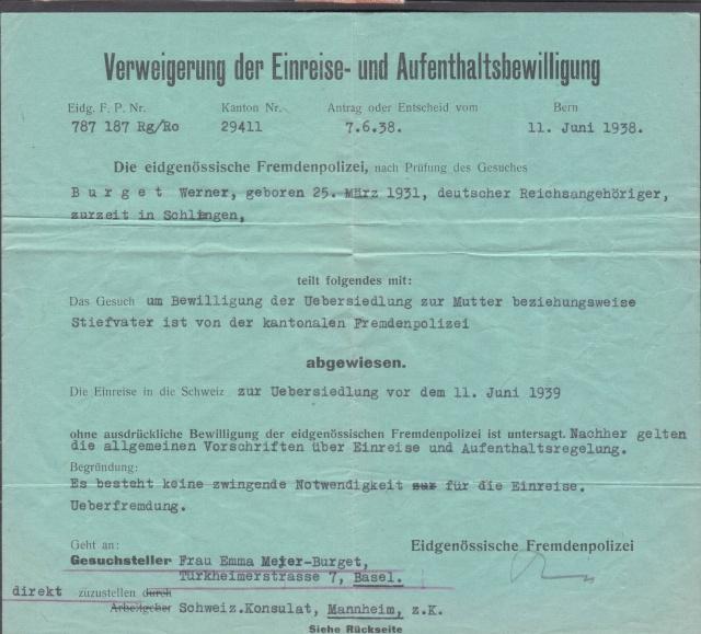 Refus de l'entrée et de l'autorisation de séjour en Suisse _1002010