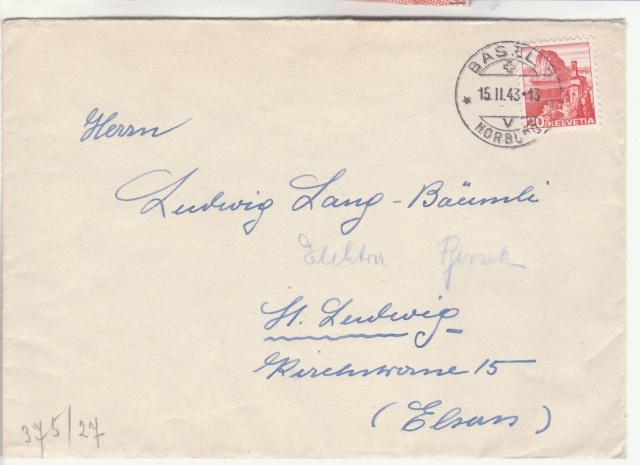 Lettre de Bâle pour ST. Ludwig (St Louis Alsace) avec censure allemande de Lyon. _1002511