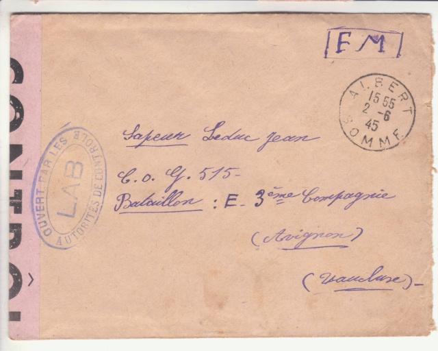 """Lettre en FM d'Albert (Somme) de juin 45 pour Avignon avec censure """"LAB""""- non répertoriée !! _1003310"""