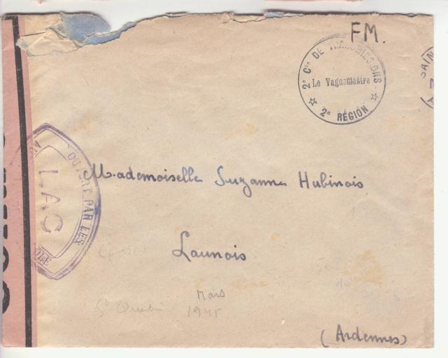 """Lettre en FM d'Albert (Somme) de juin 45 pour Avignon avec censure """"LAB""""- non répertoriée !! _1004110"""