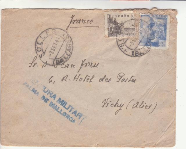 Lettre des Baléares de 1941 avec contenu + papillon du censeur. _1800010