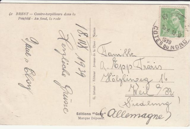 Carte à vue de Brest montrant des navires de guerre postée en août 39 pour l'Allemagne!! _1_18_11