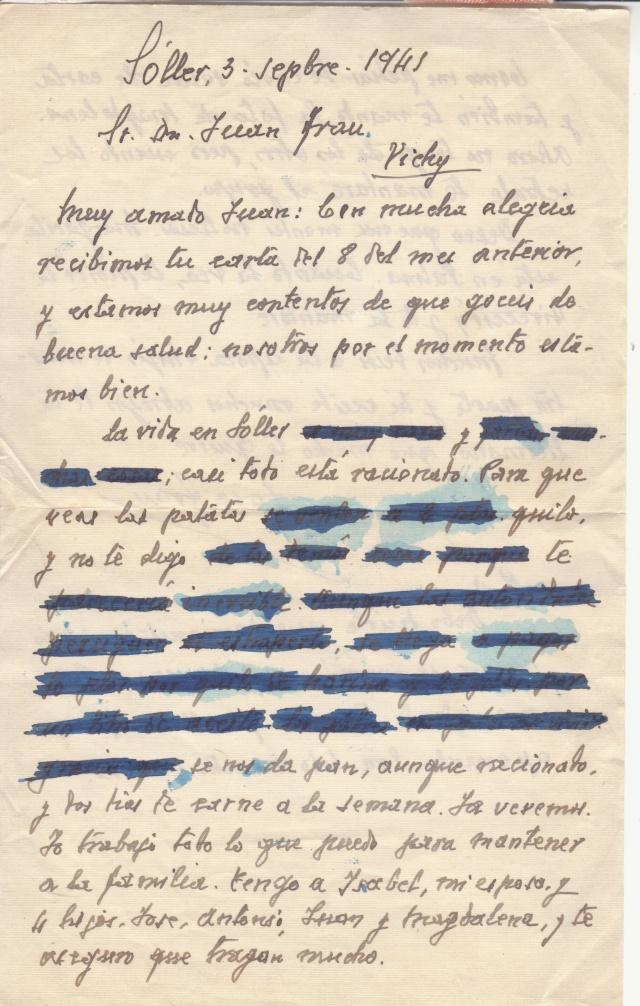 Lettre des Baléares de 1941 avec contenu + papillon du censeur. _2000010