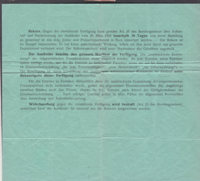 Refus de l'entrée et de l'autorisation de séjour en Suisse _2001711