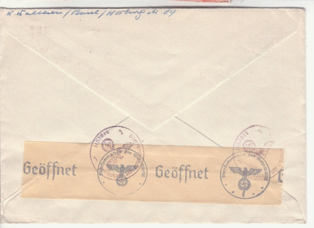 Lettre de Bâle pour ST. Ludwig (St Louis Alsace) avec censure allemande de Lyon. _2002610