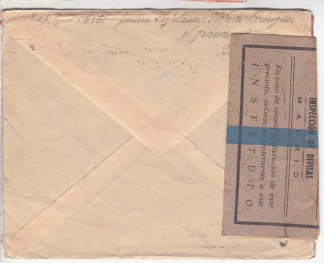 Contrôle des devises du courrier au départ d'Espagne. _2002910