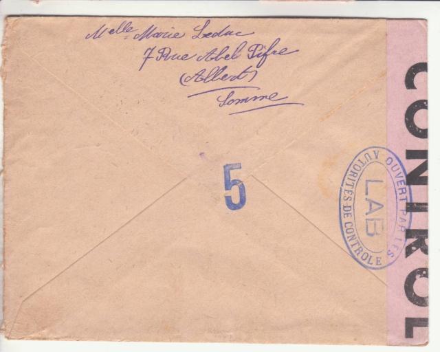 """Lettre en FM d'Albert (Somme) de juin 45 pour Avignon avec censure """"LAB""""- non répertoriée !! _2003511"""