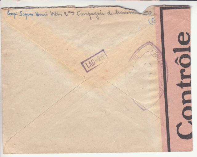 """Lettre en FM d'Albert (Somme) de juin 45 pour Avignon avec censure """"LAB""""- non répertoriée !! _2003610"""