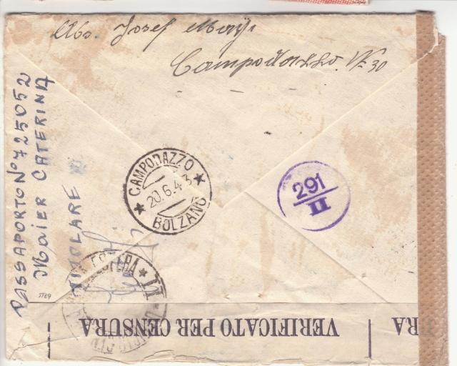 Lettre d'Italie pour l'Allemagne avec partie du texte caviardé par ?? _2003711
