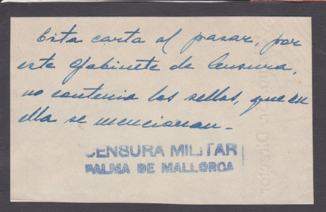 Lettre des Baléares de 1941 avec contenu + papillon du censeur. _2300010