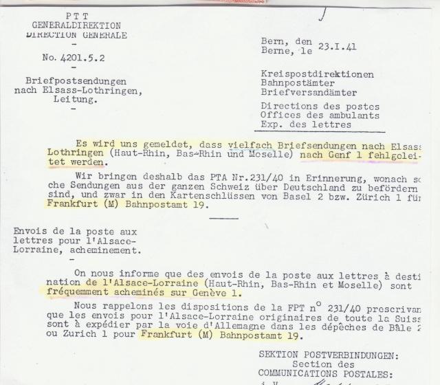 Lettre de Bâle pour ST. Ludwig (St Louis Alsace) avec censure allemande de Lyon. _3001910
