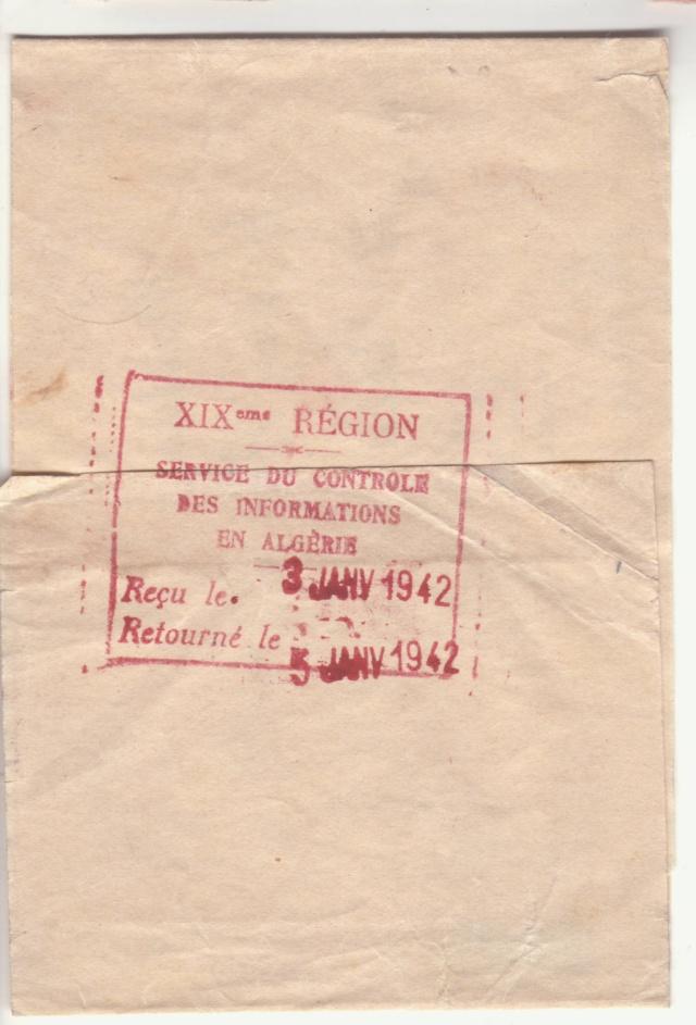 """Cachet """"Service du contrôle des informations en Algèrie"""" sur bande de journal en 1942 _3002111"""