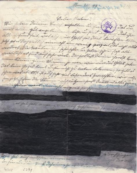 Lettre d'Italie pour l'Allemagne avec partie du texte caviardé par ?? _3002910