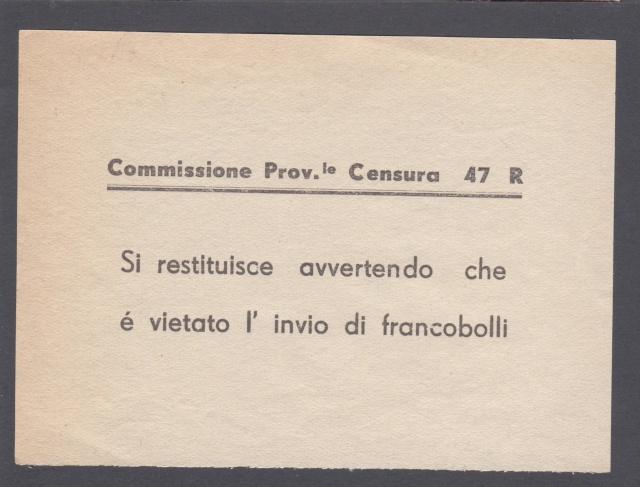 L'envoie de timbres postes est interdite par la censure en Italie. _4002112