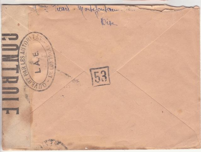 """Lettre en FM d'Albert (Somme) de juin 45 pour Avignon avec censure """"LAB""""- non répertoriée !! _4003110"""