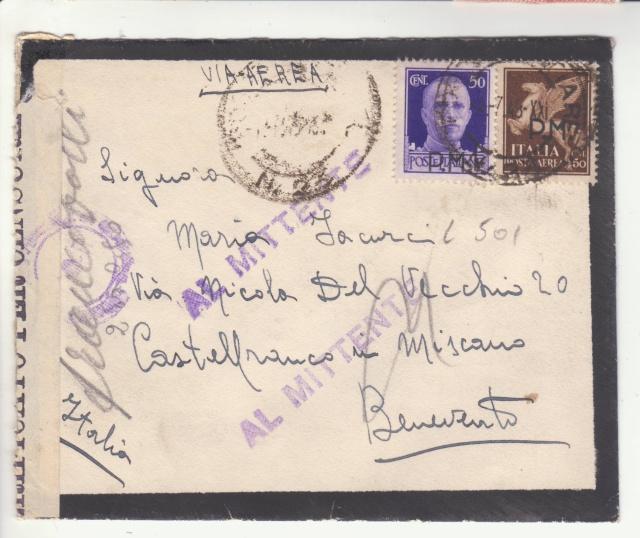 L'envoie de timbres postes est interdite par la censure en Italie. _5002011