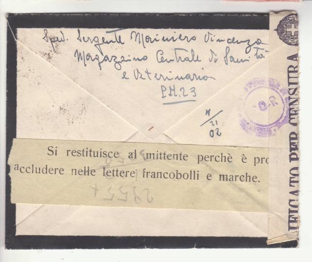 L'envoie de timbres postes est interdite par la censure en Italie. _6001611