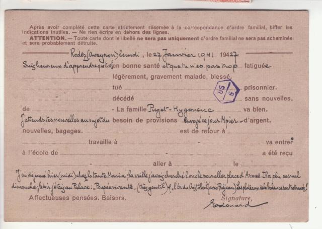 Carte interzone de janvier 1941 avec cachet de censeur de Rodez  _6001612