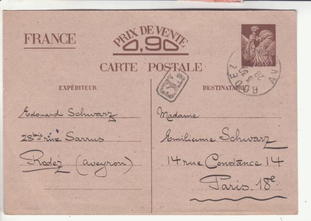 Carte interzone de janvier 1941 avec cachet de censeur de Rodez  _7001510