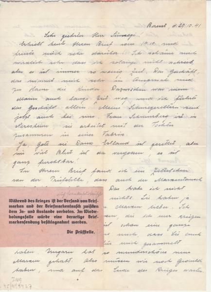 Echange de timbres postes pendant la guerre - ABP g . _8001810