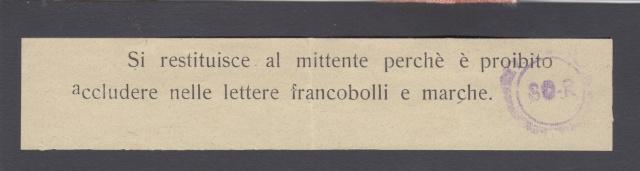 L'envoie de timbres postes est interdite par la censure en Italie. _9001211