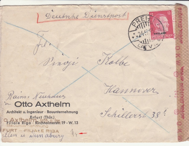 """Les marques des censeurs """"lecteurs"""" des centres de contrôle allemands : a  Königsberg. _a_110"""