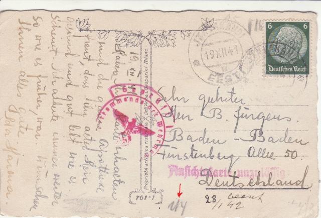 """Les marques des censeurs """"lecteurs"""" des centres de contrôle allemands : a  Königsberg. _a_211"""