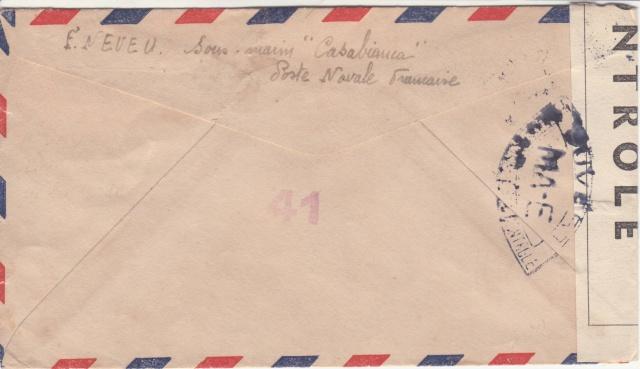 """Lettre censurée MA-E ( Meknes ) du sous-marin """" Casabianca"""" pour les USA _afn-111"""