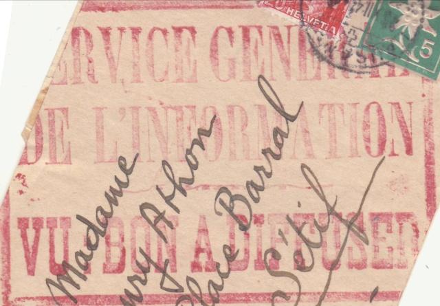 """Cachet """"Service du contrôle des informations en Algèrie"""" sur bande de journal en 1942 A11"""