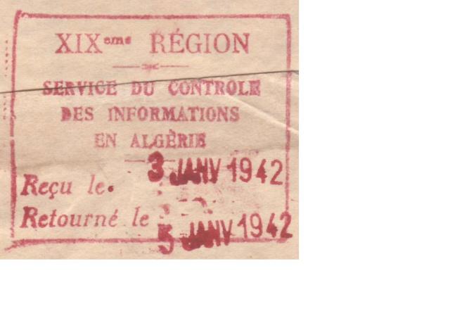 """Cachet """"Service du contrôle des informations en Algèrie"""" sur bande de journal en 1942 B10"""