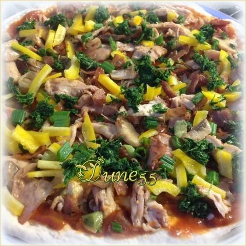Pizza au poulet et épinards 65piye10