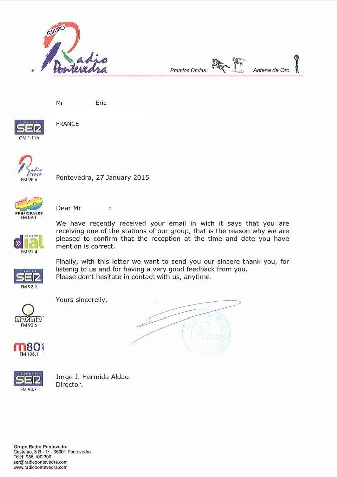 Lettre de confirmation de PONTEVEDRA RADIO Pntev11
