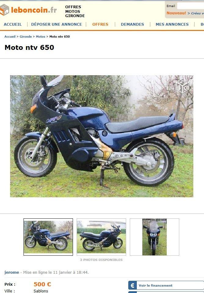 500 euros à dépenser pour une NTV 650 Ntv50010