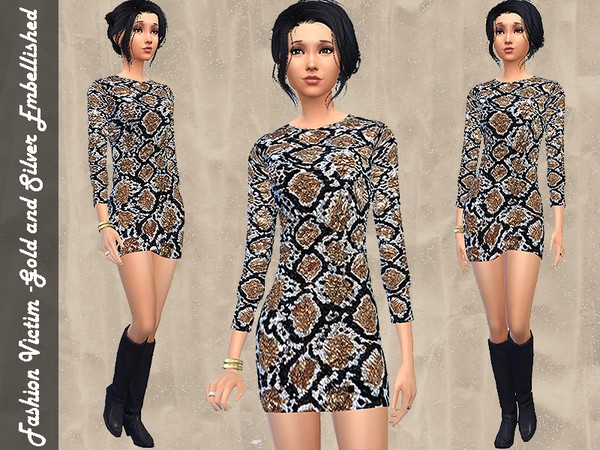 Gold and Silver Mini Dress by Fashion_Victim W-600h16