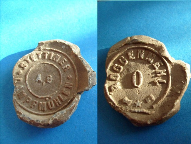 "003 - Allemagne - scelle ""Stettiner dampfmuhlen"". Plomb101"