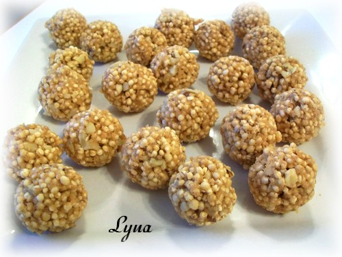 Truffes au quinoa soufflé et beurre d'arachide Douceu10