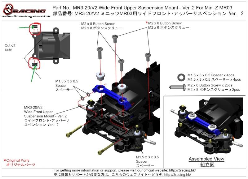 Montage 3RACING MR03-20-BU Mr03-210